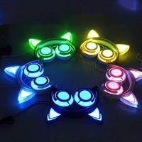 LED Luminous Long Wired Cute Headphone For Girl Kids Foldable Big Earphone Headphones With Cat Ear