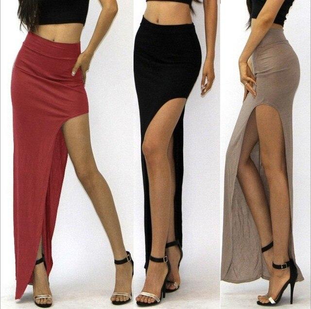 New Brand Designer summer Hot Sale 2016 Novelty  Sexy Women Skirt Lady Open Side Split Skirt High Waist Long Maxi Skirt 1