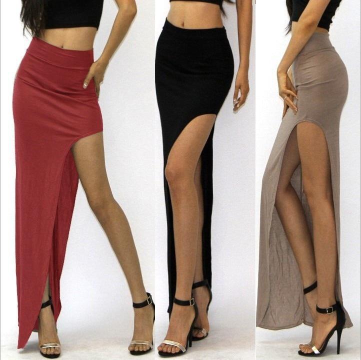 New Brand Designer Summer Hot Sale 2016 Novelty  Sexy Women Skirt Lady Open Side Split Skirt High Waist Long Maxi Skirt