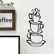 Removable Kitchen Decoration sticker Coffee Cups Cafe Tea Wall Sticker House Decal Vinyl Art Mural Pub Decals Y-76