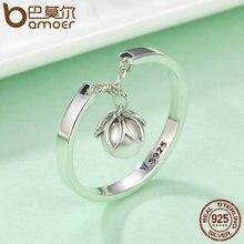 BAMOER Genuine 925 Sterling Silver Tears Of Flowers Dangle Open Finger Rings for Women Luxury Sterling Silver Jewelry SCR165