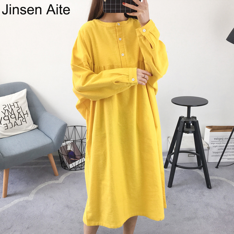 Jinsen Aite 2019 Large Size Women's Night Dress   Nightgown   Long-sleeve Cotton Casual Loose Autumn   Sleepshirt   Home Clothes JS776
