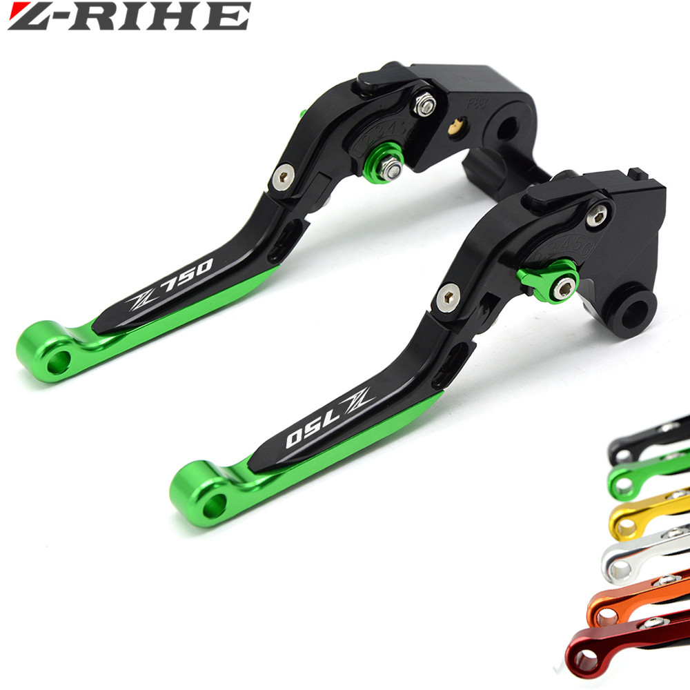 for Logo(Z750) Green+black CNC Aluminum Motorcycle Brake Clutch Levers For KAWASAKI Z750 Z 750 2007 2008 2009 2010 2011 2012