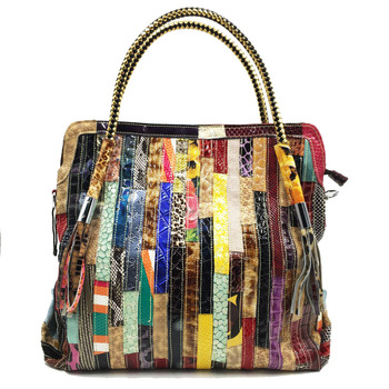 Luxury Serpentine Striped Brand Design Patent Leather Women Handbag Colorful Patchwork Natural Cow Leather Tassel Women Totes
