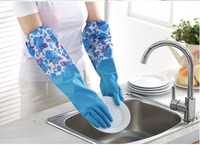 New Arrival Velvet Lining Latex Household Dish Washing Gloves Winter Laundry Kitchen Cleaning Gloves