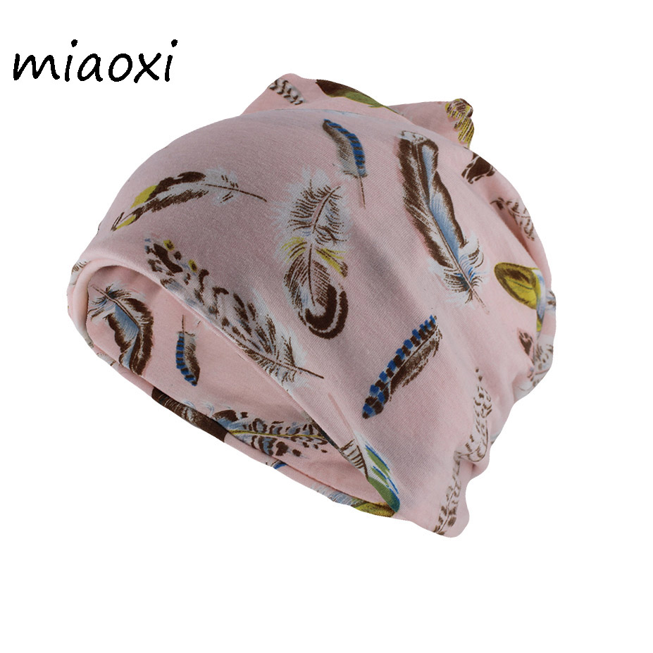Miaoxi New Fashion Cotton Women Beanies For Girl's Autumn Warm Hat Skullies Dual-Use Hats Scarf Spring Floral Solid Gorros