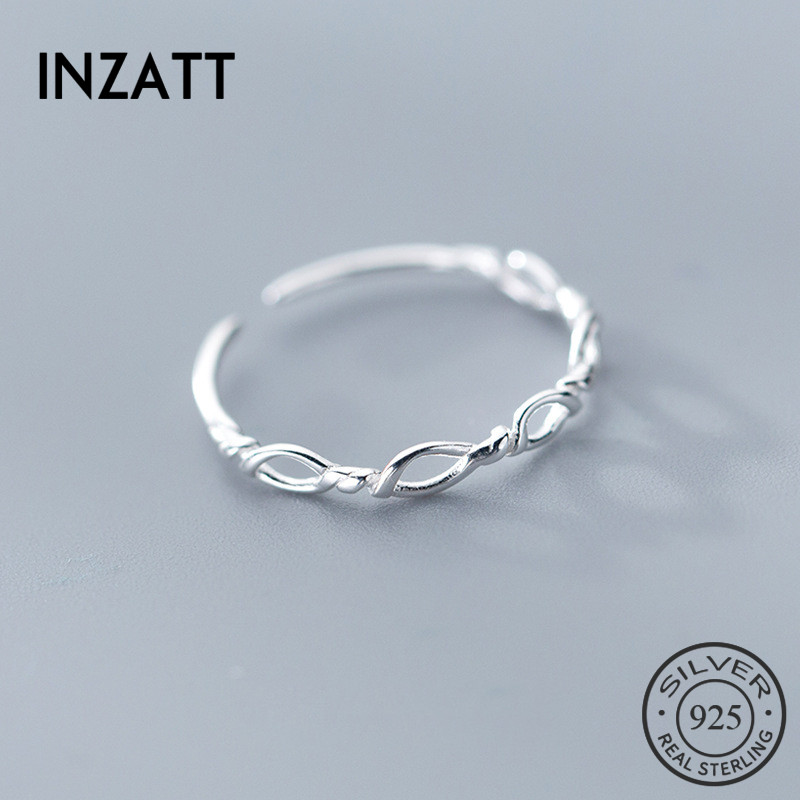 INZATT Real 925 Sterling Silver Minimalist Geometric Hollow Braided Rope Adjustable Ring For Fashion Women Party Fine Jewelry