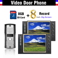 8 inch LCD Screen Video Recording Video Door phone Intercom Doorbell Kit Video doorphone Interphone + 8G Card record video