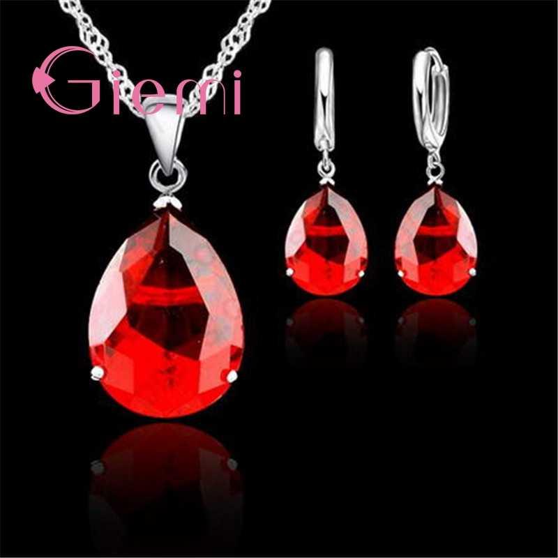 Mewah DROP Bentuk Merah Besar Batu Kristal Anting-Anting Kalung 925 Sterling Silver dan CZ Pesta Pernikahan Perhiasan Set