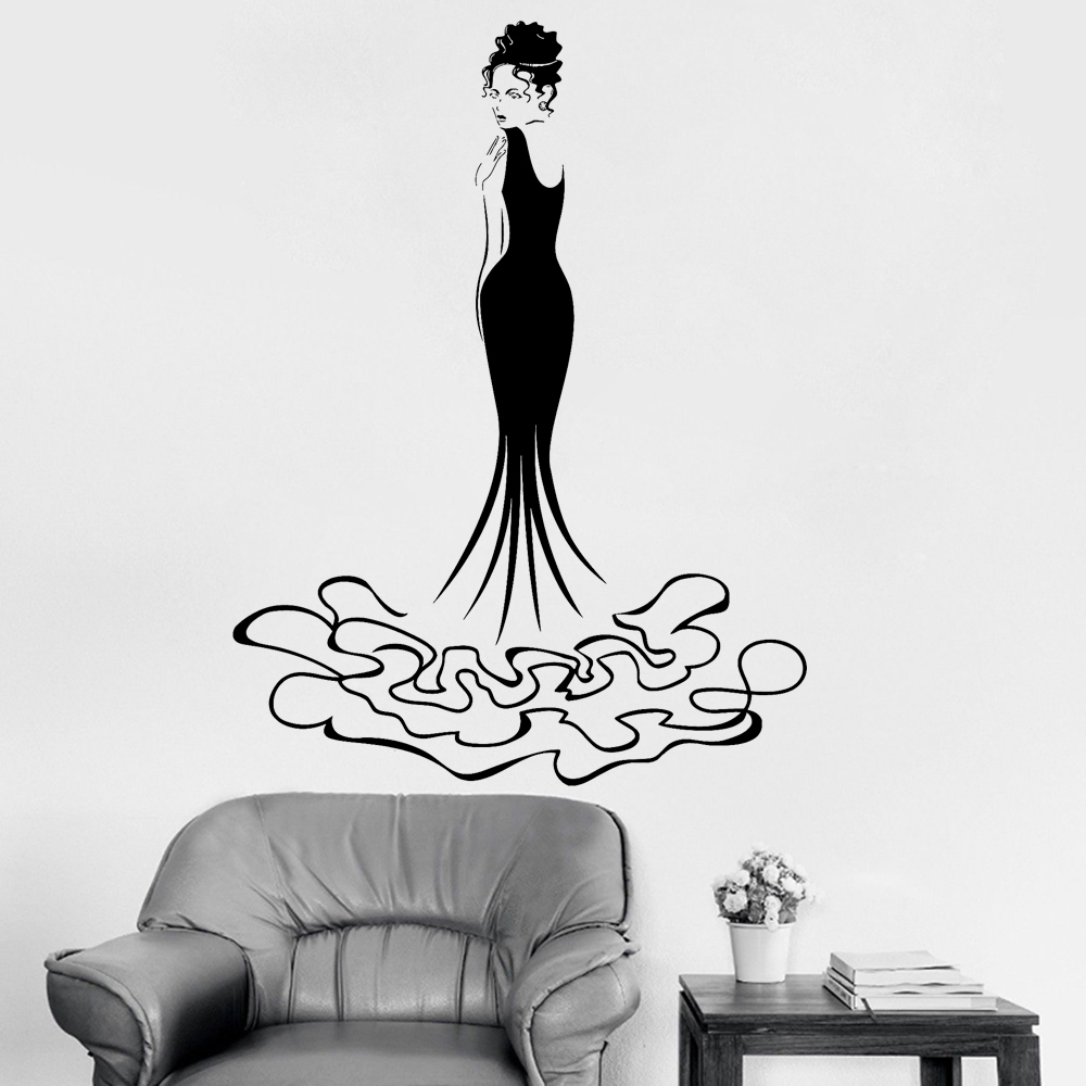 New Creative Design Vinyl Wall Decal Pretty Girl Harmonious Fashion Evening Dress Beauty Shop Decor Home Wall Stickers Hot LC215