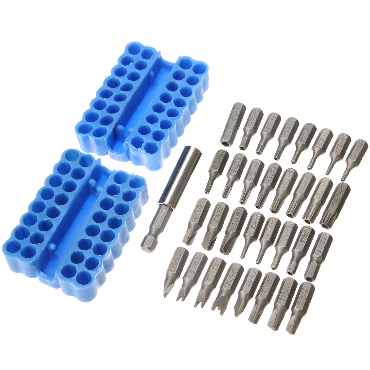 32pcs Security Bit + 1pc Hex Extension Shank Tamper Proof Torx Spanner Screwdriver Star Hex Holder Drill Bit Screw Driver Bits