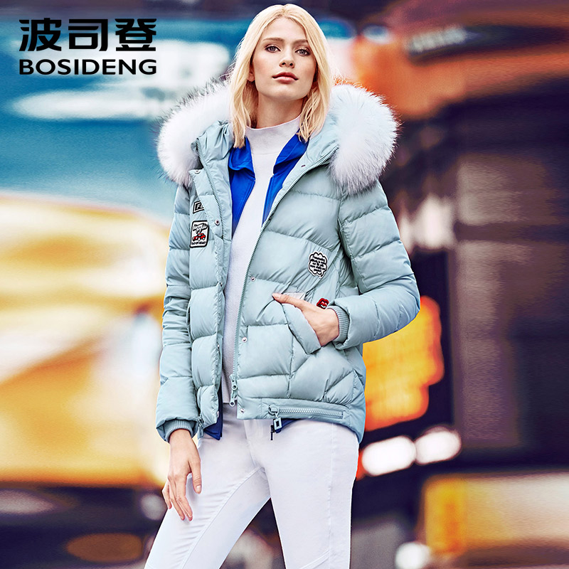 BOSIDNEG winter thick down coat short long down jacket natural fur collar fashion high street high quality hood outwear B1601108