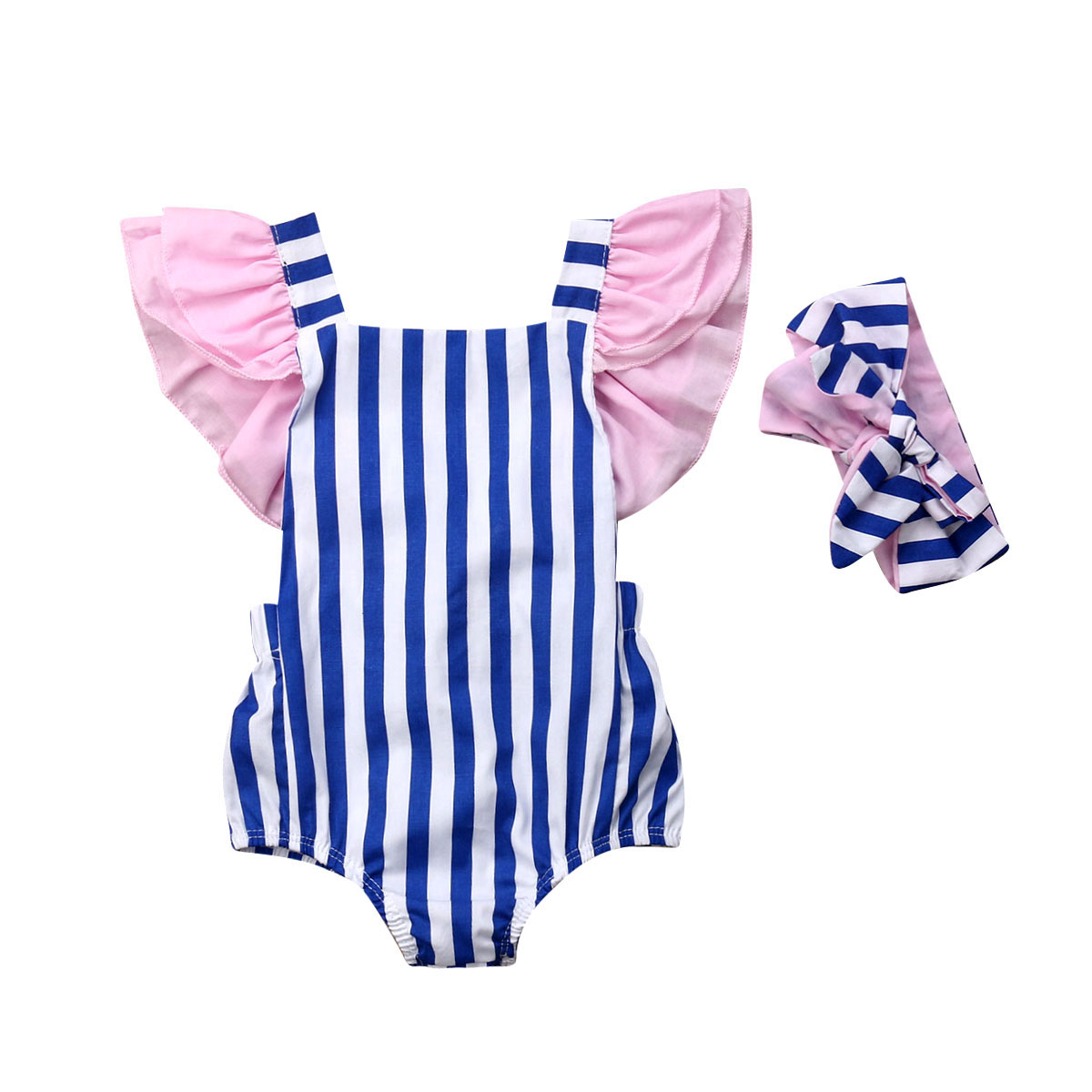 2pcs Newborn Baby Girl   Romper   Headband+Striped Jumpsuit Playsuit Outfits Set
