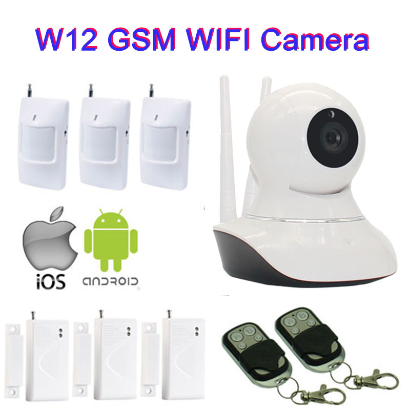 Wifi Alarm Internet GSM Camera SMS Alarm Wireless Wifi Camera IP Video Security System PIR Motion Detector Remote Control W12H home security camera system gsm 3g ip camera wireless sms camera with gsm alarm system siren strobe pir motion control w12d