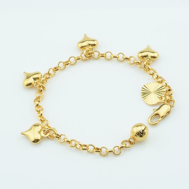 Heart Bracelets Jewelry Chain Gold-Color Baby 12cm 1pcs 3mm Toys Link Smooth Rolo Kids
