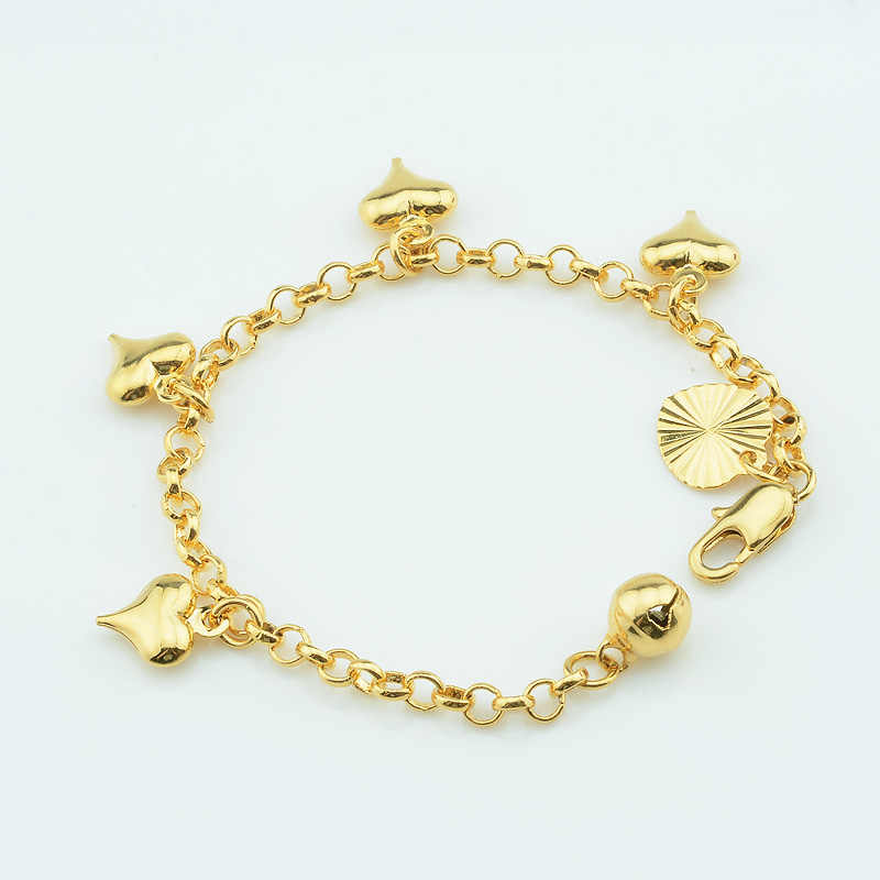 1pcs 3mm 12cm New Baby Kids Toys Gold Color Smooth Heart Bracelets Link Rolo Chain Jewelry