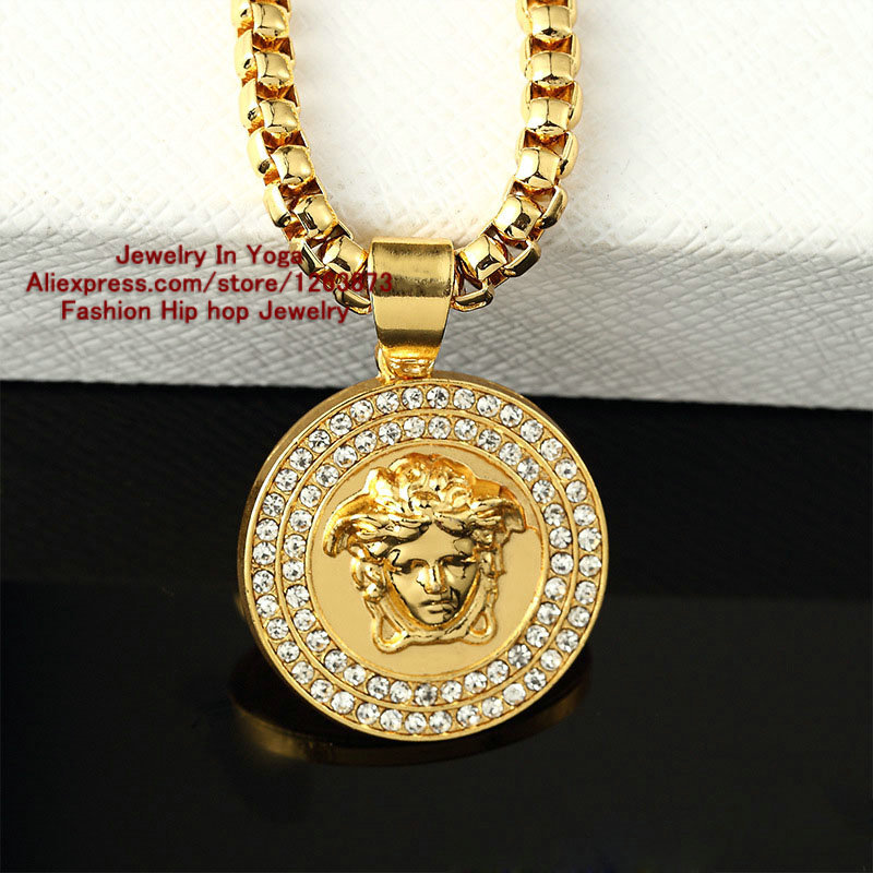 New arrivals f style fashion design men necklace 24k gold pendant jewelry trendy hip hop head Design and style fashion jewelry