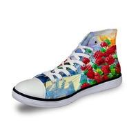 Noisydesigns High top canvas women sneakers vintage vulcanized flat shoes ladies red flowers 3D print girls outdoor footwear