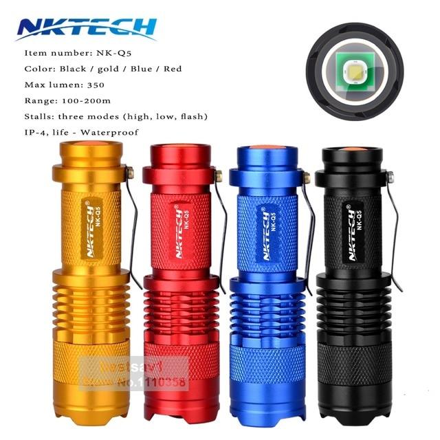Colors NKTECH Mini Zoomable LED Flashlight 350LM  Mini flashlight lanterna Portable Outdoor Camping Hunting penlight AA 14500