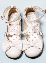 Japanese Harajuku Low Chunky Heels Sweet Round Toe Bowtie Princess Lolita Shoes Kawaii School Girls Shoes