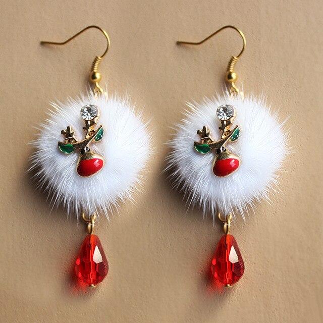 Европейской и Американской Моды Санта-Plum Оленей Белый Мех Лисы Мяч Красный Кристалл Падение Серьги Оптовая Продажа Ювелирных Изделий Рождественский Подарок