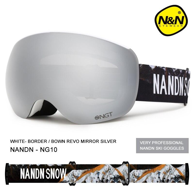 NANDN Ski glasses Goggles Anti fog and UV protection Skiing equipment