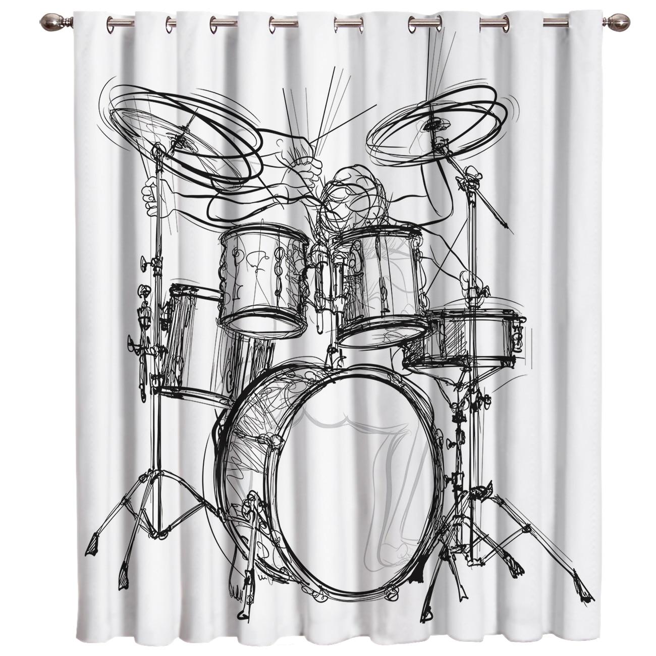 Shelf Drum Rock Music Blackout Kitchen Outdoor Bedroom Indoor Decor Kids Window Treatment Hardware Sets Curtain Panels With