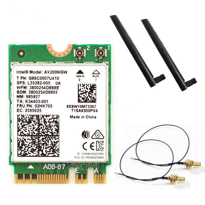 2 Băng Tần AX200NGW Không Dây 802.11ac/AX Mạng Intel Wifi 6 AX200 WLAN NGFF Card Wifi 5G Lên Đến 2.4Gbps Bluetooth 5.0 + Anten