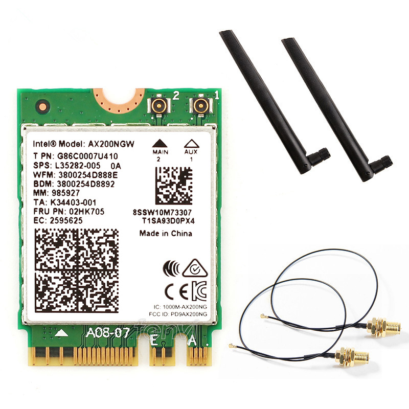 Dual band AX200NGW Wireless 802.11ac/ax Network Intel WiFi 6 AX200 Wlan NGFF Wifi Card 5G up to 2.4Gbps Bluetooth 5.0 + Antennas-in Network Cards from Computer & Office