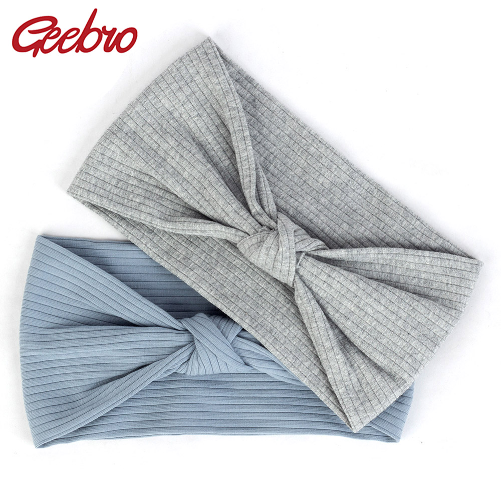 Geebro 2019 Fashion Woman Cotton Stretch Headbands Summer Knotted Ribbed Sport Headbands Ladies Yoga Hair Band Accessories DQ771