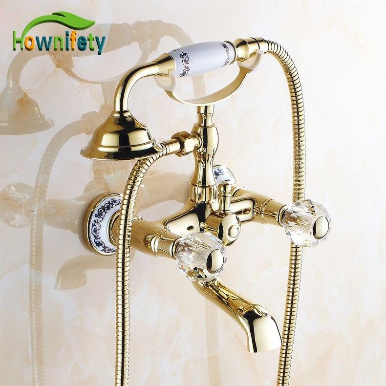 Solid brass double crystal handles bathroom tub faucet - Gold bathroom faucets with crystal handles ...