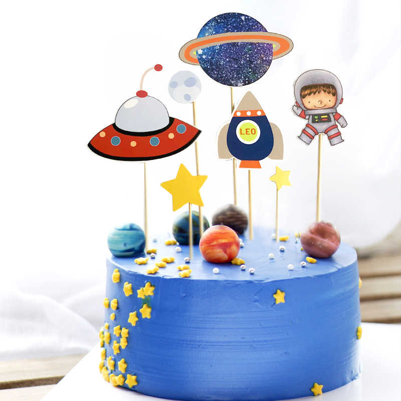 Admirable Astronaut Rocket Moon Happy Birthday Cake Topper Dessert Party Birthday Cards Printable Opercafe Filternl