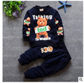 Grupo de crianças de roupas de Inverno 2016 das crianças dos desenhos animados esportes jaqueta + conjuntos de calças 2 do bebê do algodão em torno do pescoço