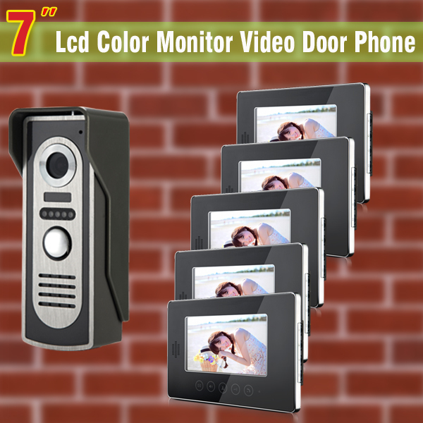 7 inch monitor video door phone intercom doorbell Kits Video DoorPhone interphone System 1-IR Night vision Camera 5-Monitor 7 inch video doorbell tft lcd hd screen wired video doorphone for villa one monitor with one metal outdoor unit night vision