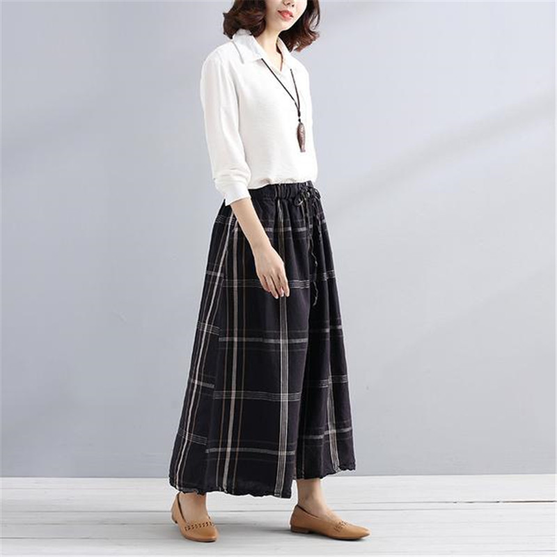 BUYKUD 2018 Summer Loose Lattice Casual Pants String Black Women Wide Leg Pants Elastic Waist Cropped Trouser With Pockets