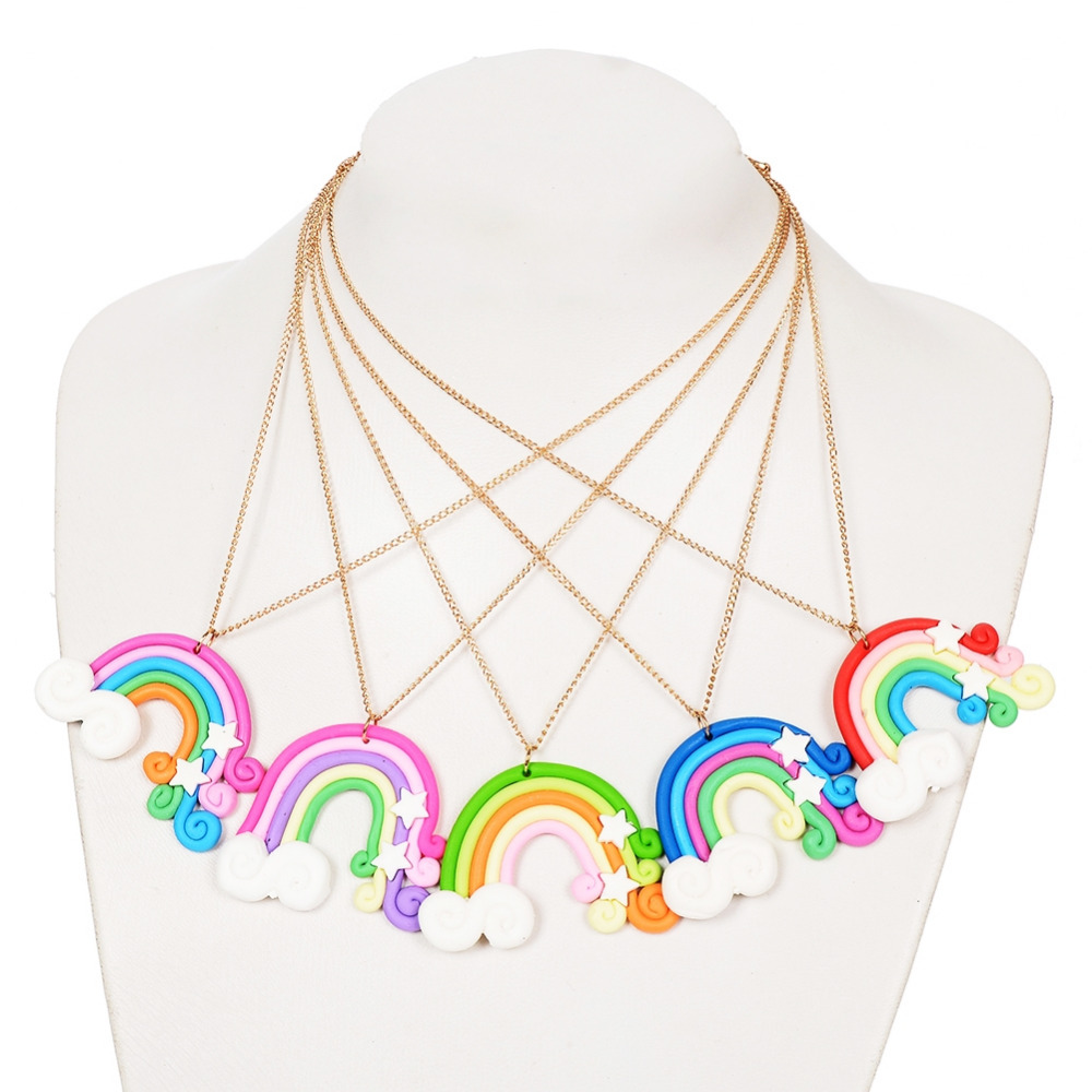 1 Pc Creative Rainbow Girls Necklace Handmade Polymer Clay Pendant Necklace For Children Christmas Gift Jewelry Random Color