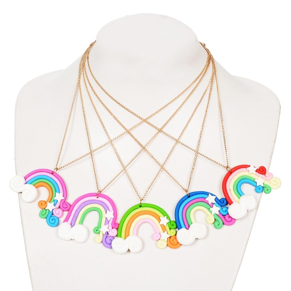 1 Stück Kreative Regenbogen Mädchen Halskette Handgemachte Polymer ...