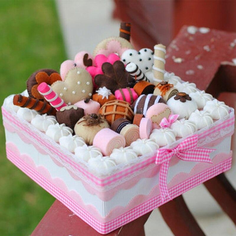 Free Cut Jewelry Cake Boxes Dia 22CM Fabric Cake Gift Box Pack Handmade Non-woven Storage Box Felt DIY Package