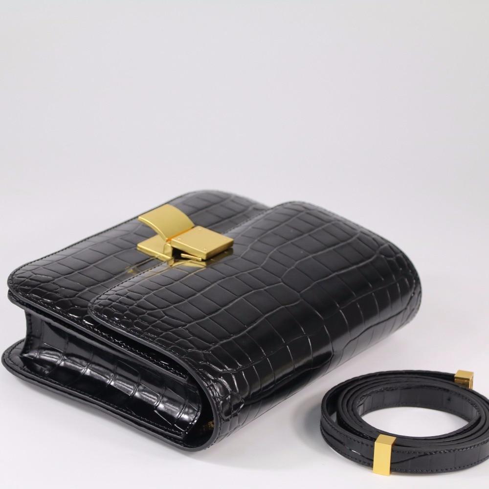 Genuine Leather Women Bag Fashion Classic Crocodile Pattern Ms. Shoulder Bag Messenger Bag Retro Crossbody Bag Small Flap~18B10