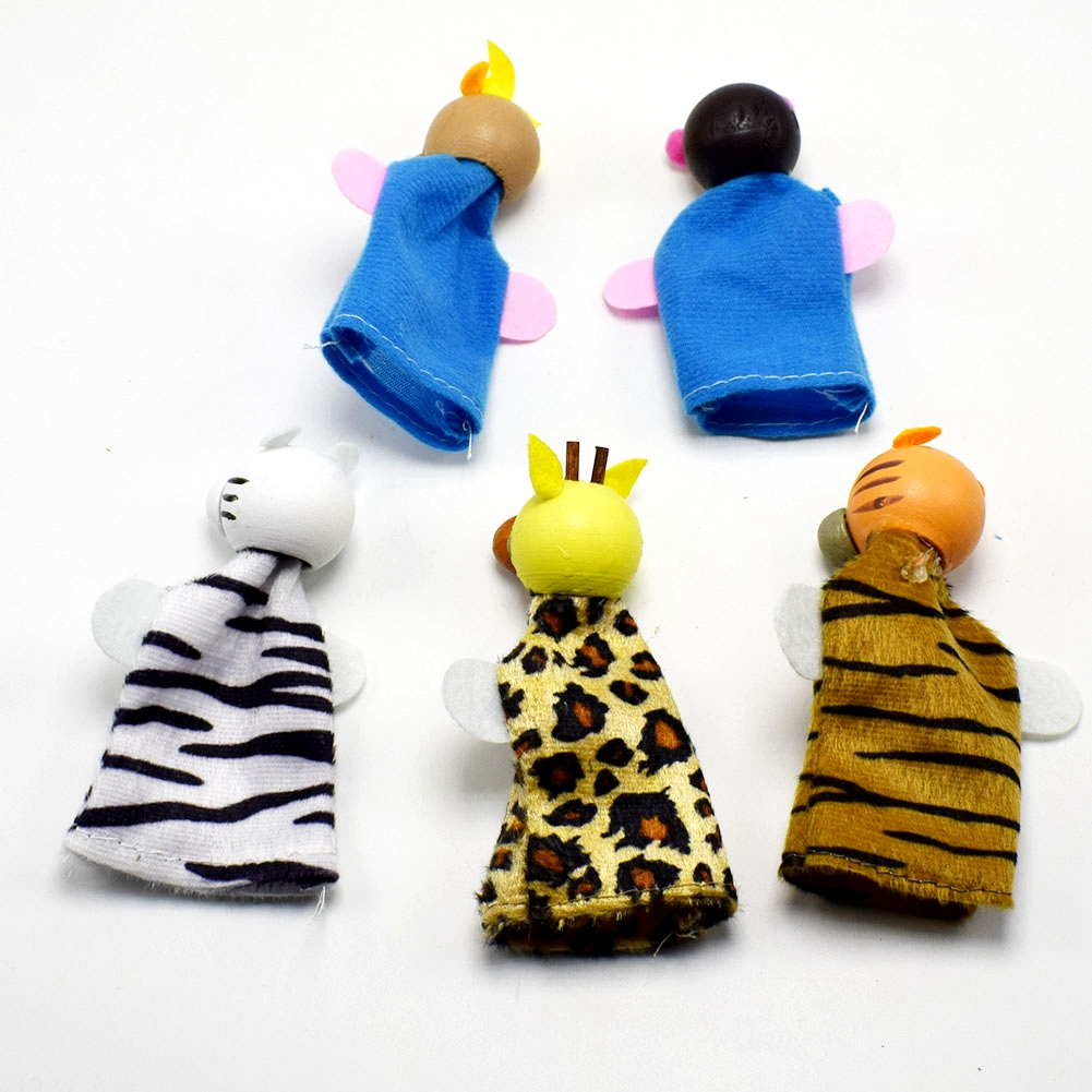 5pcs lot Wood Cloth Tiger Monkey Giraffe Antelope Leopard Animal Wood Finger Puppet Set Children Story Telling Helper Dolls in Action Toy Figures from Toys Hobbies