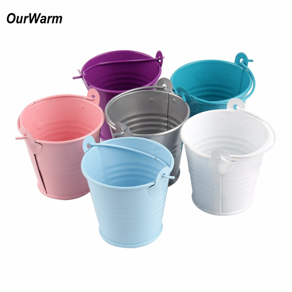 OurWarm 50Pcs Mini Metal Colored Candy Gifts Box Flowers Plant Basket Bride Tin Buckets Baptism Wedding