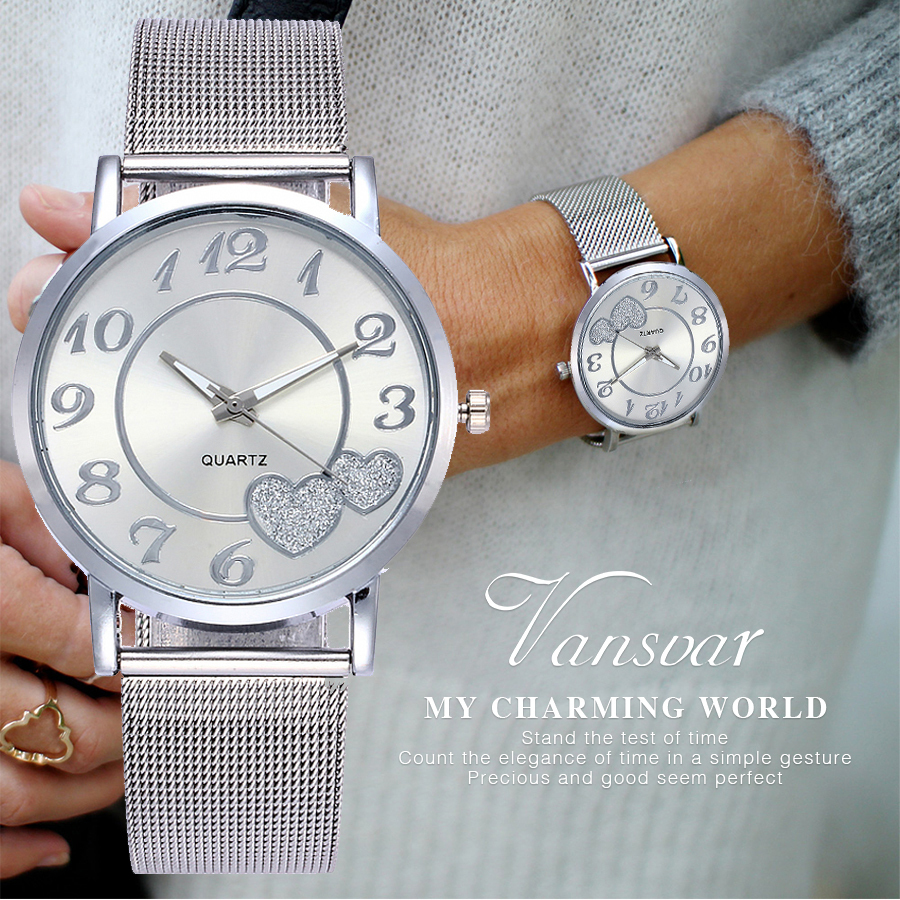 купить Vansvar Brand Fashion Silver Gold Mesh Band Love Dial Wristwatch Casual Women Quartz Watches Gift Relogio Feminino по цене 193.2 рублей