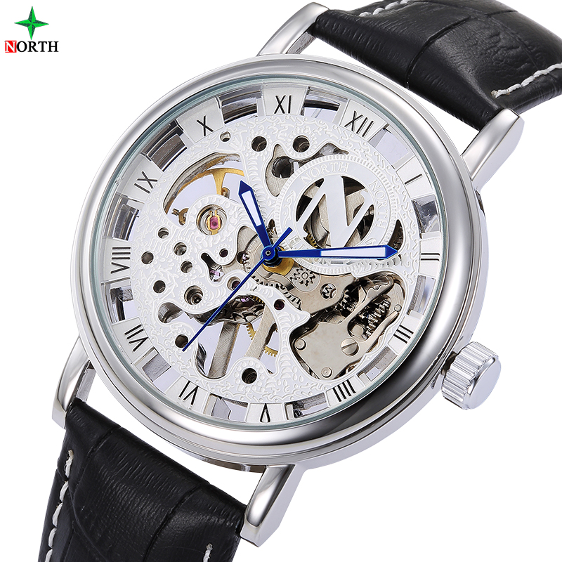 NORTH Men Automatic Watch Sport Business Skeleton Wristwatch Fashion casual Stainless steel Skeleton Mechanical Watches clock стоимость