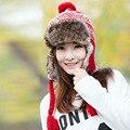 2016 de Moda de Nova Chegada Outono Inverno Mulheres Chapéus De Pele Falsa Todos Proteção de Orelha Do Vintage Trança De Tricô de Lã Gorro De Esqui