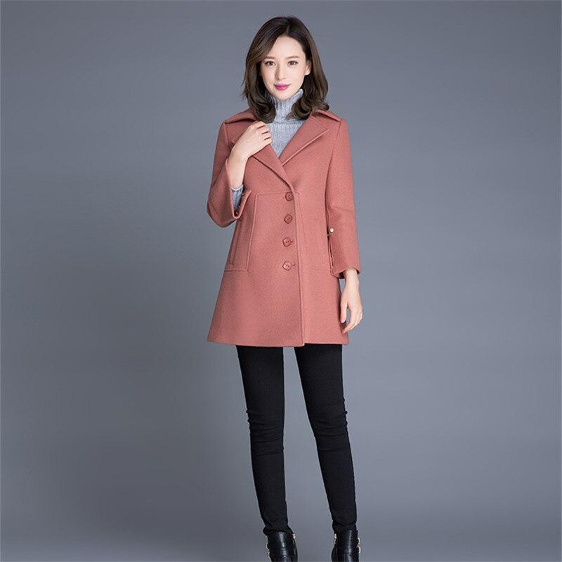 Mode Grande Manteaux Particulier Taille Unique De Nouvelle Automne apricot  Leather 2018 Poitrine Coréenne Red Élégant Manteau Dames Laine Femmes ... c12bb7c6979f