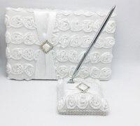 2Pcs/set Wedding Guest Book& Pen Set Bridal with White Flower Decoration Products Supplies