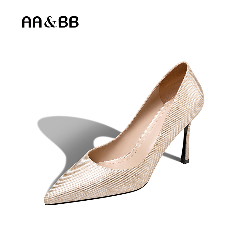 AA&BB 2018 spring and autumn stripe champagne dress shoes woman pointed toe thin heels elegant high heel slip-on shallow pumps spring autumn shoes woman pointed toe metal buckle shallow 11 plus size thick heels shoes sexy career super high heel shoes