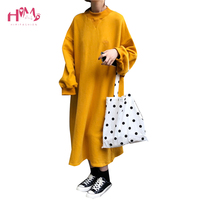Women Long Sleeve Hoodie Dress Autumn Winter Csual Solid Fleece Warmer Dress Korean Style Loose Long Oversized Dresses for Women