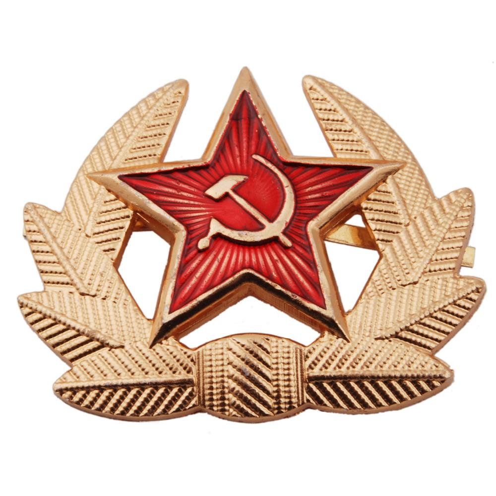 USSR SOVIET RUSSIAN MILITARY M1955 METAL HAT BADGE - 36276