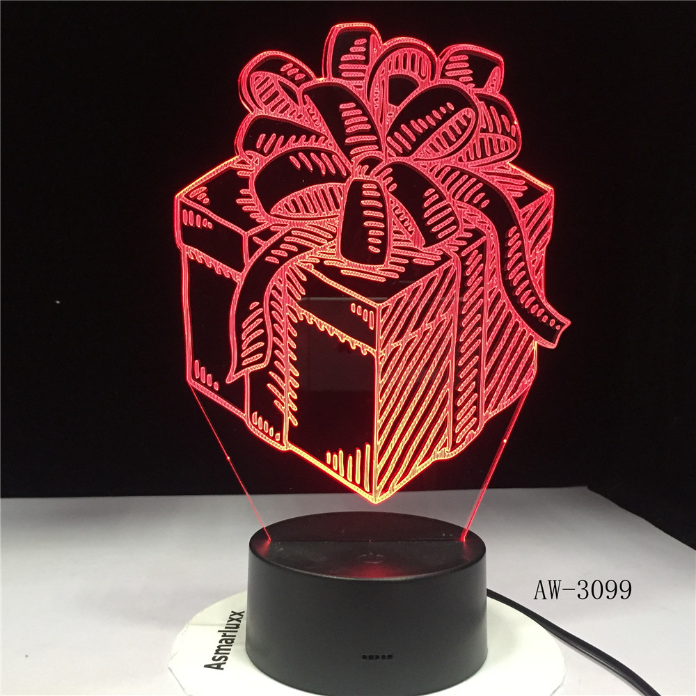 Gift Box LED Night Lamp Holiday 3D Illusion Touch Sensor Hoom Decoration Child Kids Baby Nightlight Gift Box Desk Lamp AW-3099